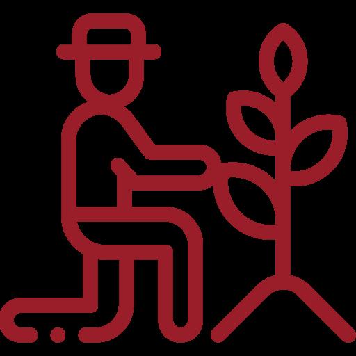 Bauer und Pflanze